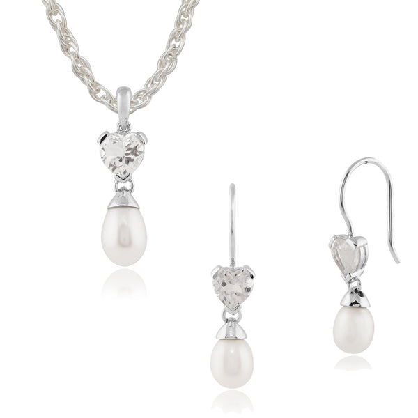 Classic Pearl & Heart White Topaz Drop Earrings & Pendant Set Image 1
