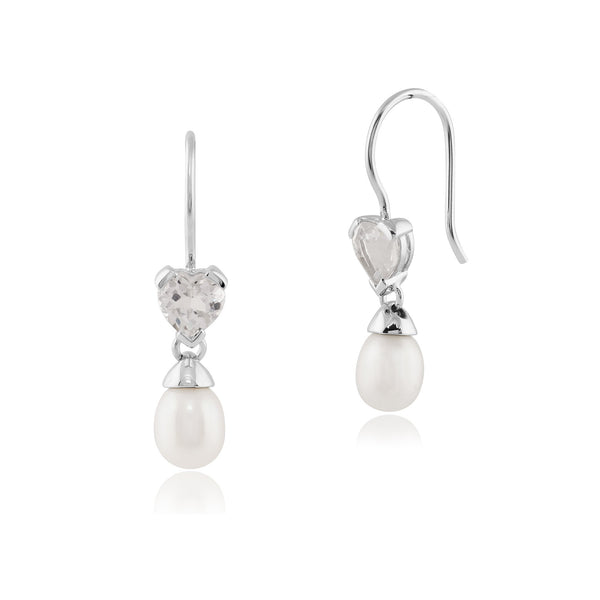 Classic Pearl & Heart White Topaz Drop Earrings & Pendant Set Image 2
