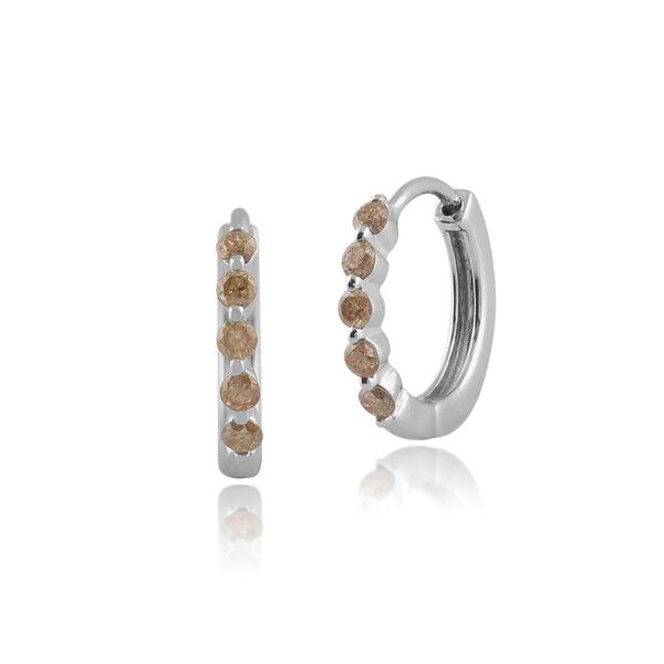 Gemondo 9ct White Gold 0.33ct Champagne Coloured Diamond Hoop Earrings Image