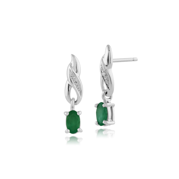 Classic Emerald & Diamond Swirl Drop Earrings on Chain Image 1