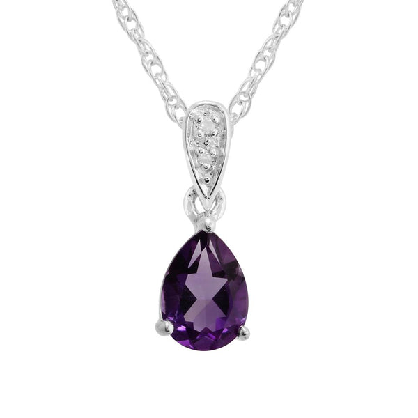 9ct White Gold 0.58ct Natural Amethyst & Diamond Classic Pendant on Chain Image