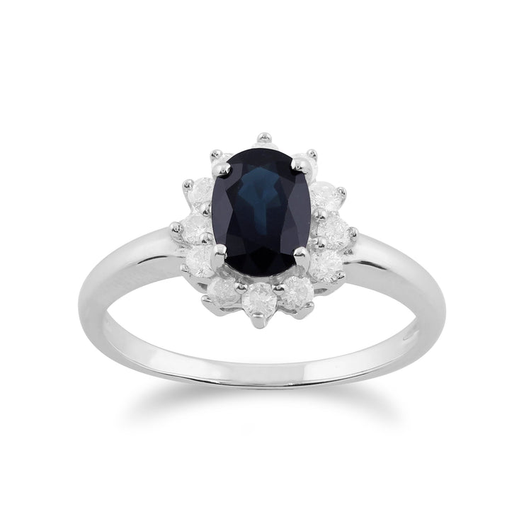Sapphire & Diamond Cluster Ring Image 1