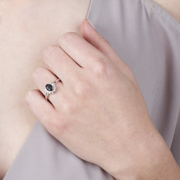 Sapphire & Diamond Cluster Ring Image 3