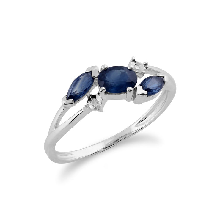 Gemondo 9ct White Gold 0.78ct Blue Kanchanaburi Sapphire & Diamond Ring Image 2