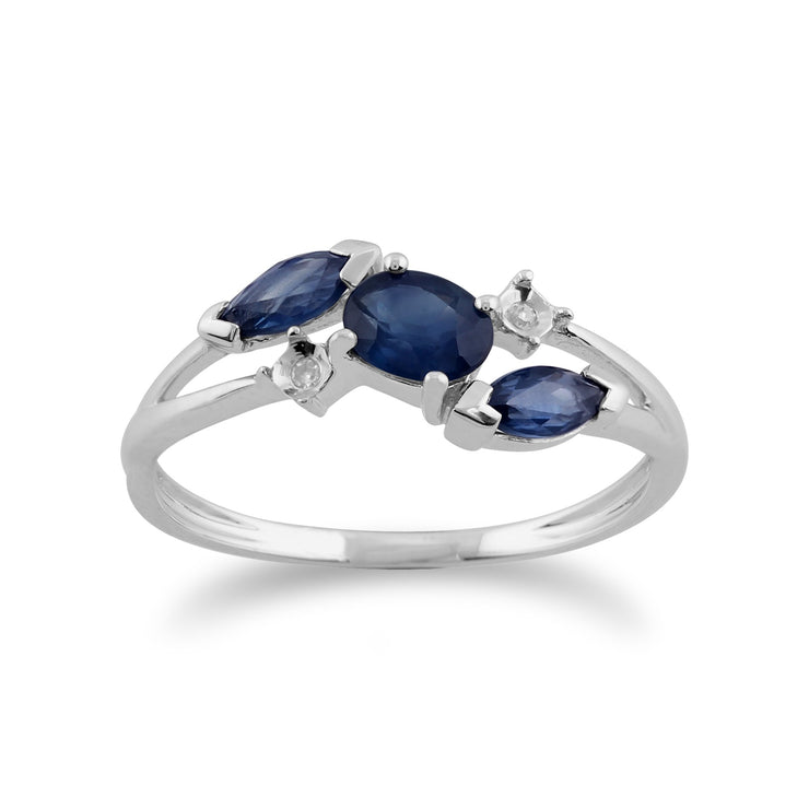 Gemondo 9ct White Gold 0.78ct Blue Kanchanaburi Sapphire & Diamond Ring Image 1