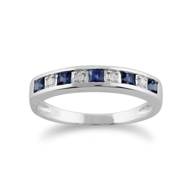 Light Sapphire & Diamond Half Eternity Ring Image 1