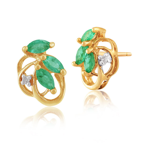 Art Nouveau Emerald & Diamond Leaf Stud Earrings & Pendant Set Image 2