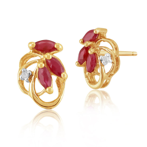Art Nouveau Ruby & Diamond Leaf Stud Earrings & Pendant Set Image 2