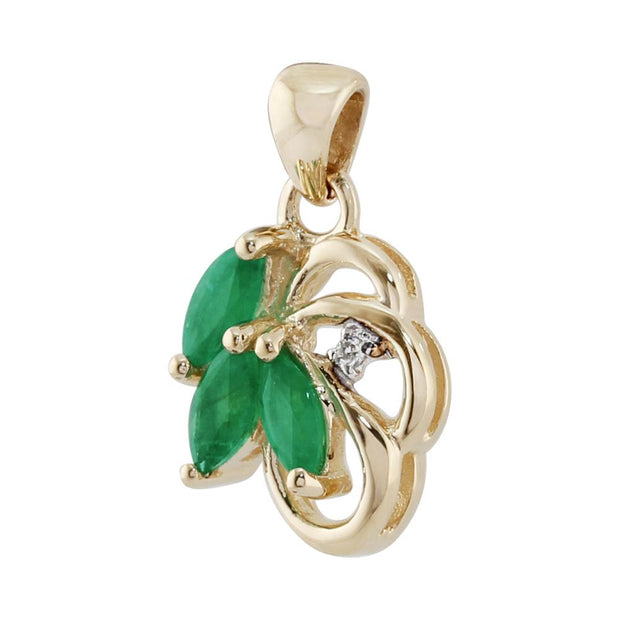 Art Nouveau Emerald & Diamond Leaf Stud Earrings & Pendant Set Image 5