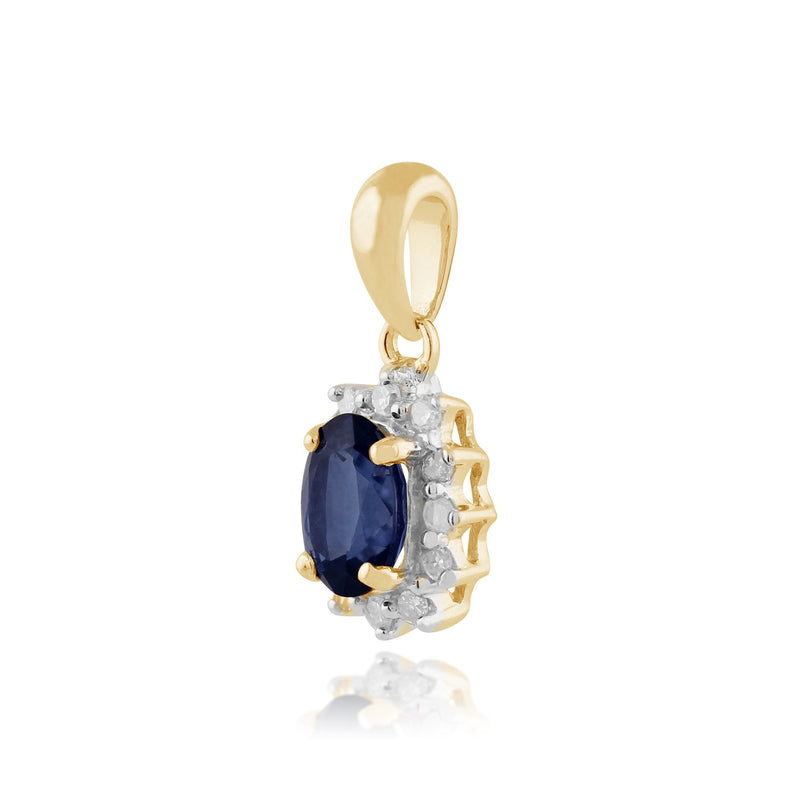 Classic Sapphire & Diamond Cluster Pendant on Chain Image 2
