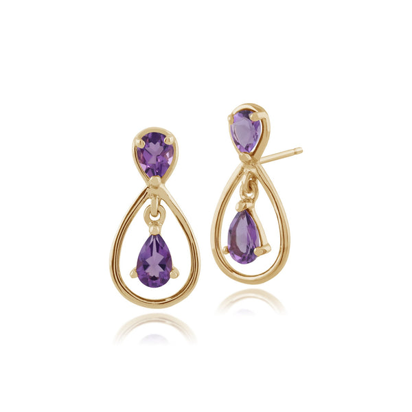 9ct Yellow Gold 0.57ct Pear Cut Amethyst Two Stone Drop Earrings Image