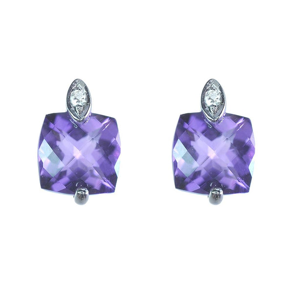 9ct White Gold 0.98ct Amethyst & Diamond Classic Square Stud Earrings Image