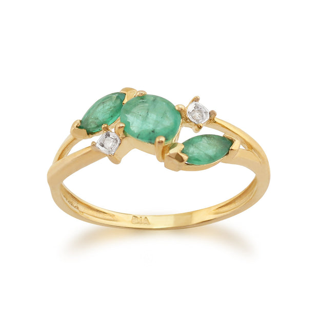 Emerald and Diamond Three Stone Ring Image 1