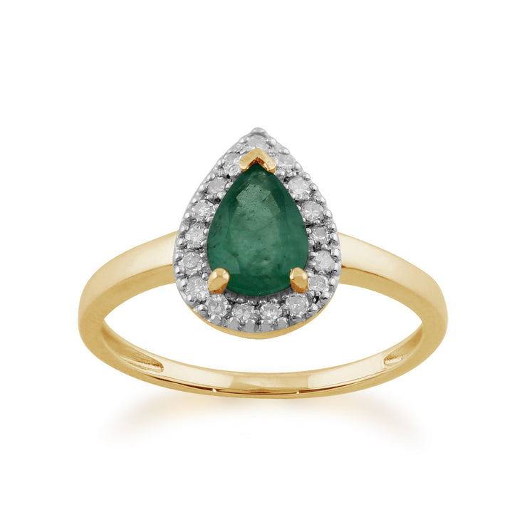 Pear Emerald and Diamond Ring Image 1