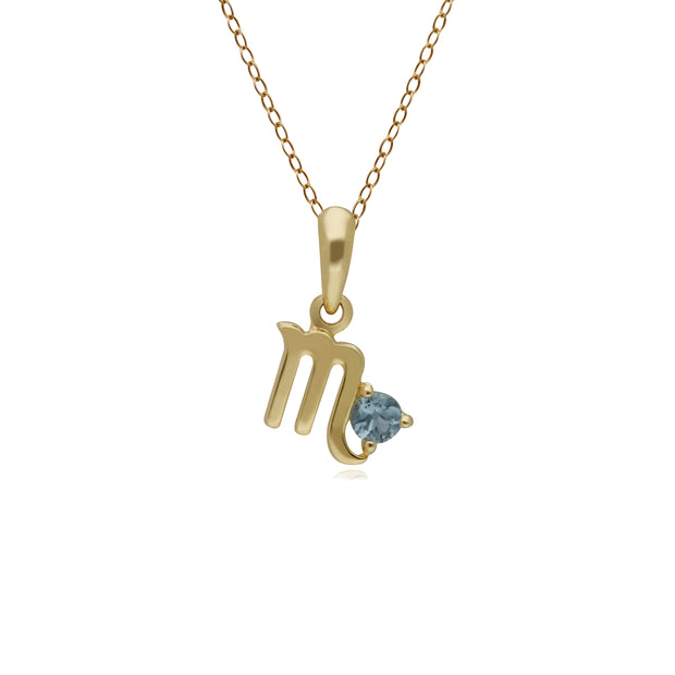Blue Topaz Scorpio Zodiac Charm Necklace in 9ct Yellow Gold