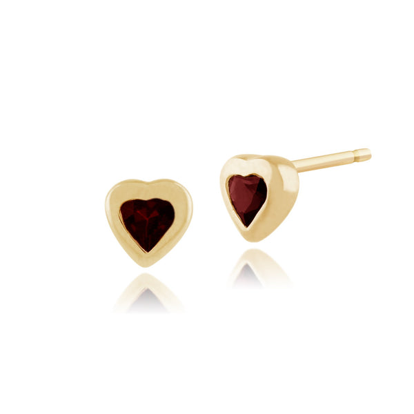 Art Deco Ruby Heart Stud Earrings Image 1