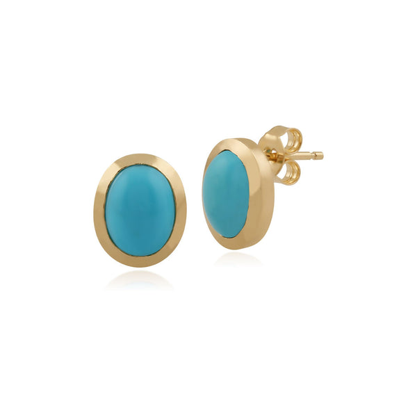 9ct Yellow Gold 1.72ct Turquoise Classic Oval Framed  Stud Earrings Image