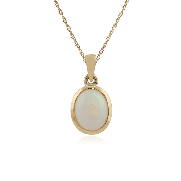 9ct Yellow Gold 1.35ct Opal Oval Cabochon Single Stone Pendant on Chain Image