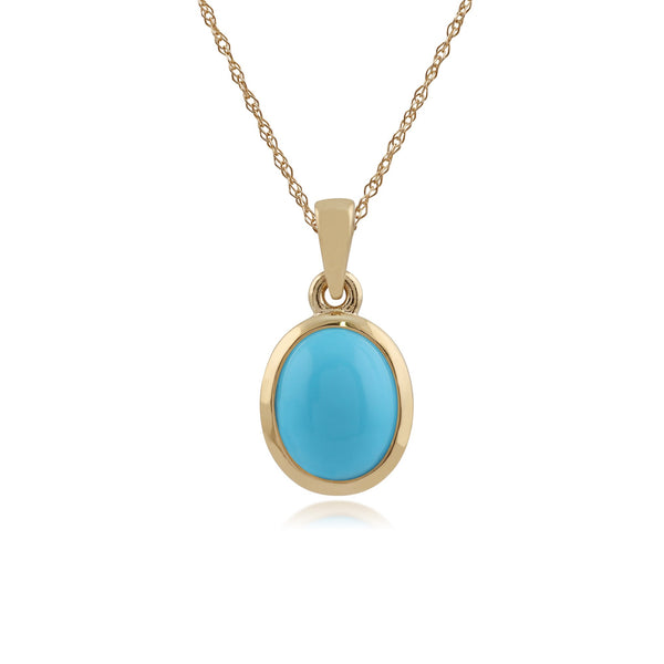 9ct Yellow Gold 2.20ct Natural Turquoise Classic Oval Pendant on Chain Image