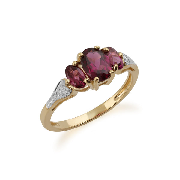 Gemondo 9ct Yellow Gold 1.60ct Rhodolite Garnet & Diamond Ring Image 2