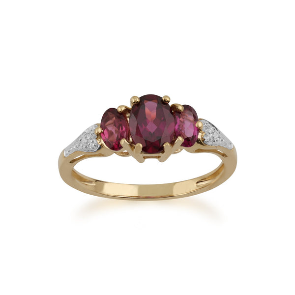 Gemondo 9ct Yellow Gold 1.60ct Rhodolite Garnet & Diamond Ring Image 1