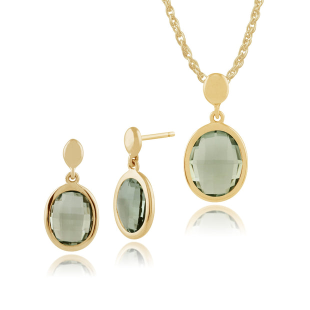 Classic Oval Mint Quartz Bezel Drop Earrings & Pendant Set Image 1