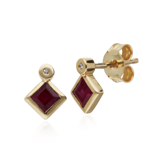 Geometric Square Ruby Stud Earrings Image 1