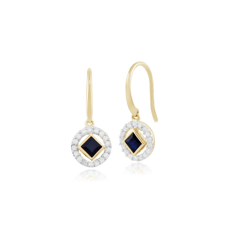 Classic Square Sapphire & Diamond Halo Drop Earrings Image 1