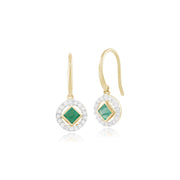 Classic Square Emerald & Diamond Halo Drop Earrings Image 1