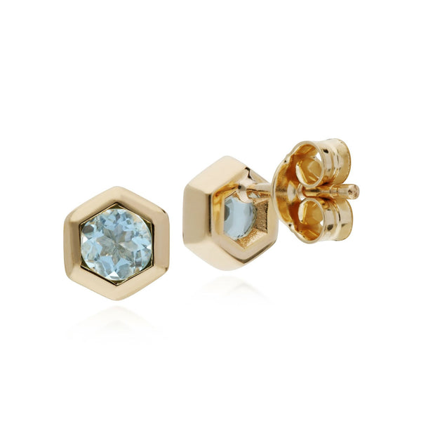 Geometric Aquamarine Hexagon Stud Earrings Image 2