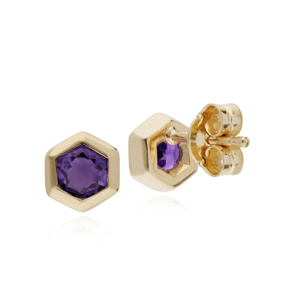 Geometric Amethyst Hexagon Stud Earrings Image 2