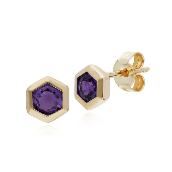 Geometric Amethyst Hexagon Stud Earrings Image 1