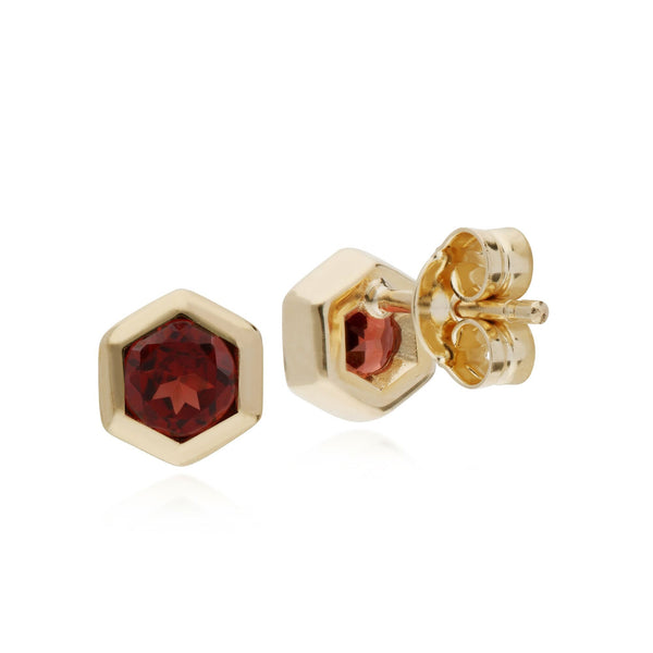 Geometric Garnet Hexagon Stud Earrings Image 2