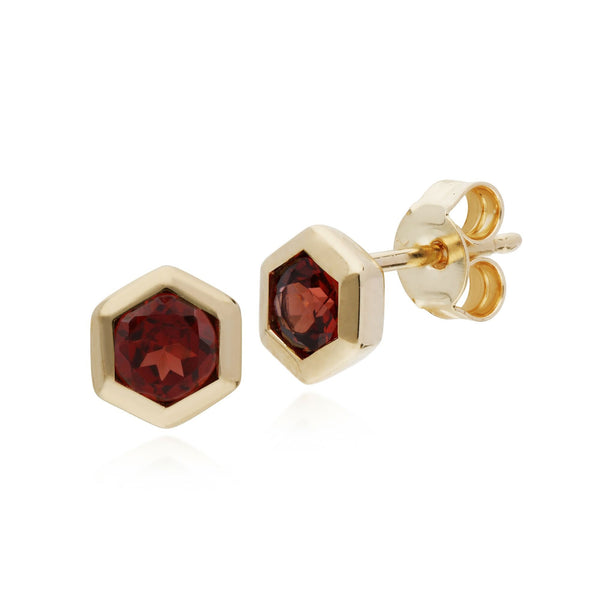 Geometric Garnet Hexagon Stud Earrings Image 1