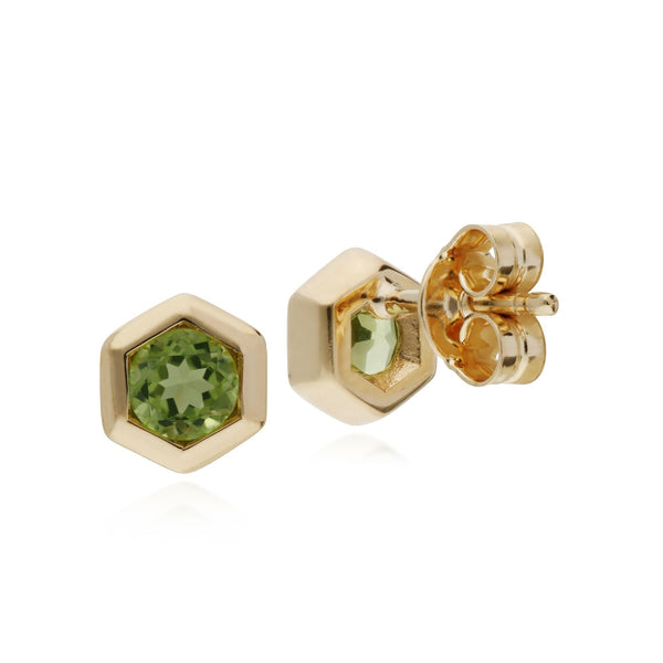 Geometric Peridot Hexagon Stud Earrings Image 2