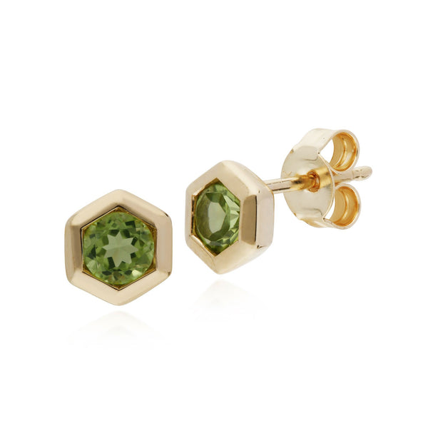 Geometric Peridot Hexagon Stud Earrings Image 1