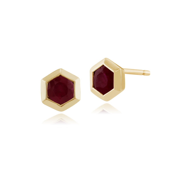 Geometric Ruby Hexagon Stud Earrings Image 1