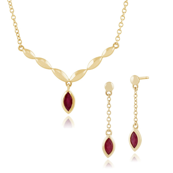 Classic Ruby Drop Earrings & Necklace Set Image 1