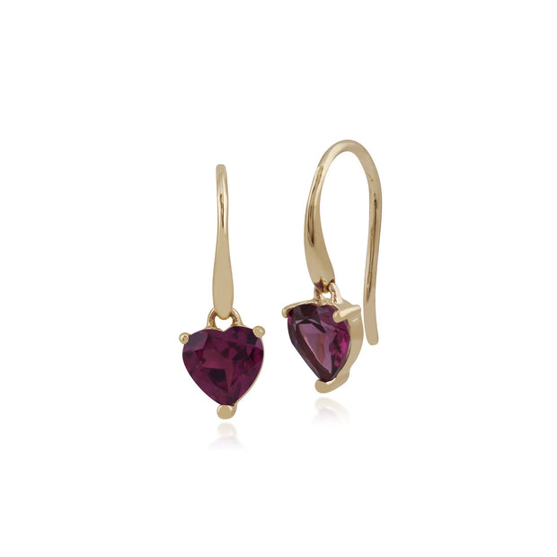 Classic Heart Rhodolite Garnet Drop Earrings Image 1