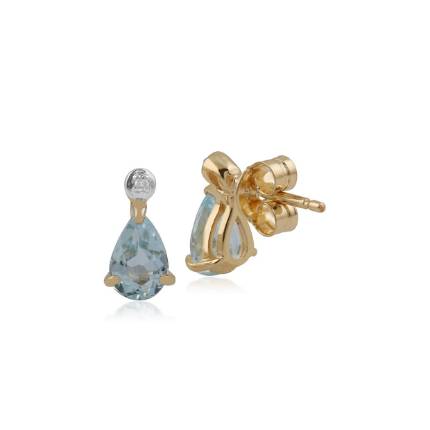 Classic Blue Topaz & Diamond Drop Earrings Image 2
