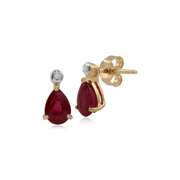 Classic Garnet & Diamond Drop Earrings Image 1
