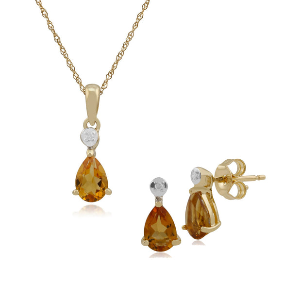 Classic Citrine & Diamond Stud Earrings & Pendant Set Image 1