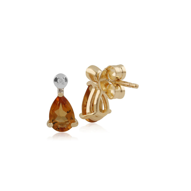Classic Citrine & Diamond Drop Earrings Image 2