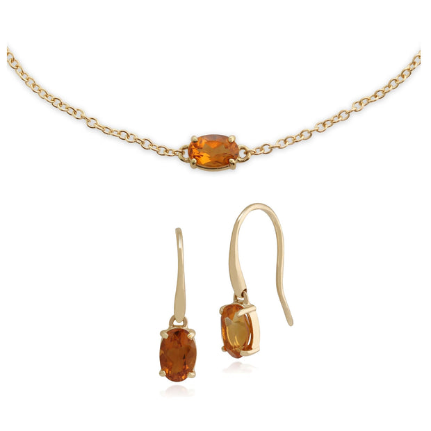Classic Citrine Single Stone Drop Earrings & Bracelet Set Image 1