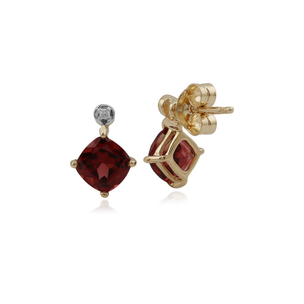Classic Square Garnet & Diamond Stud Earrings Image 2