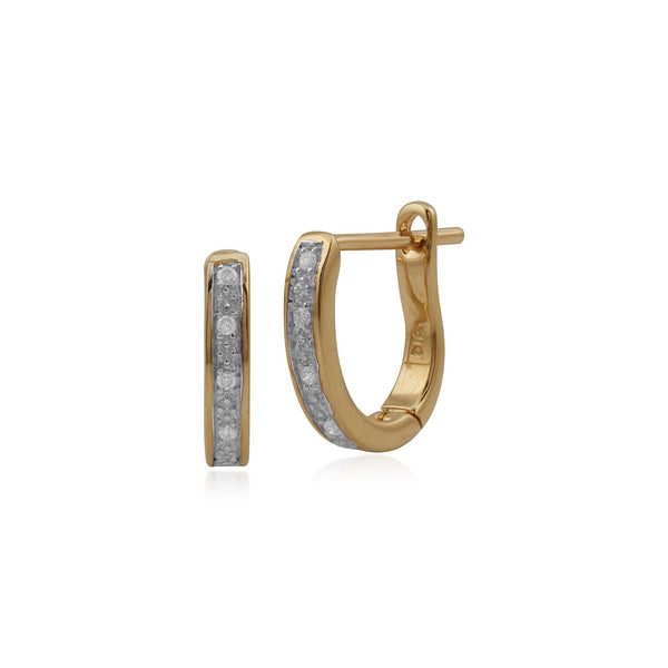 Gemondo 9ct Yellow Gold 5pt Diamond Half Hoop Earrings Image