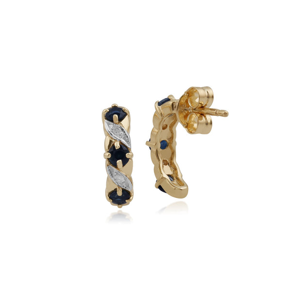 Classic Sapphire & Diamond Half Hoop Earrings Image 2