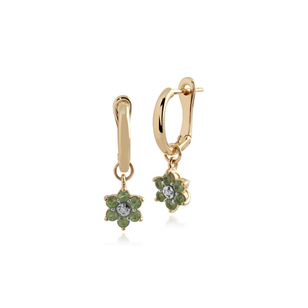 Gemondo 9ct Yellow Gold Peridot and Diamond Floral Hoop Earrings  Image