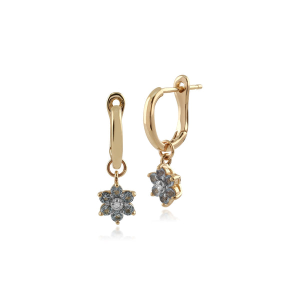Gemondo 9ct Yellow Gold Blue Topaz and Diamond Floral Hoop Earrings  Image