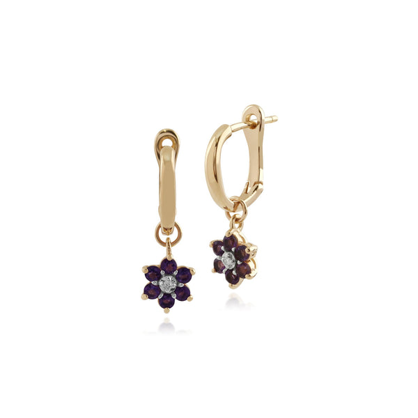 Gemondo 9ct Yellow Gold Amethyst and Diamond Floral Hoop Earrings  Image